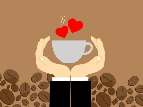 Zeichnung: Zwei Hände halten einen Kaffee der Dampf formt zwei rote Herzen