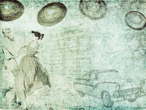 Tanzende Menschen ein altes Auto und Schallplatten