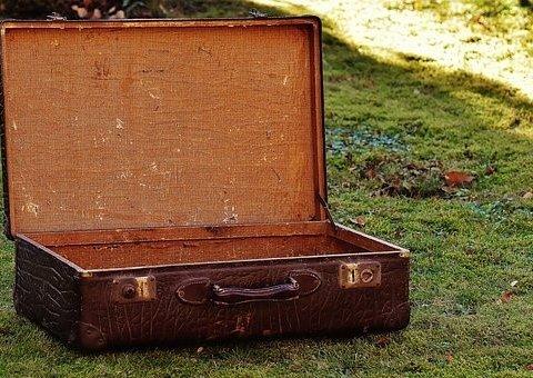 Ein Koffer auf einer Wiese